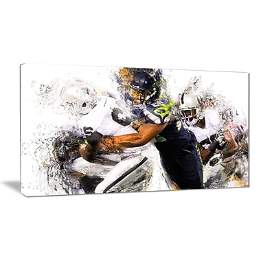 Designart Football Tackle Canvas Art Print, (PT2504-32-16)