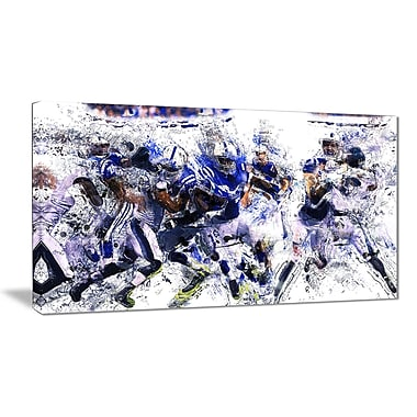 Designart Football Running Back to Score Canvas Art Print, (PT2506-32-16)
