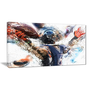 Designart Football Touchdown Canvas Art Print, (PT2507-32-16)
