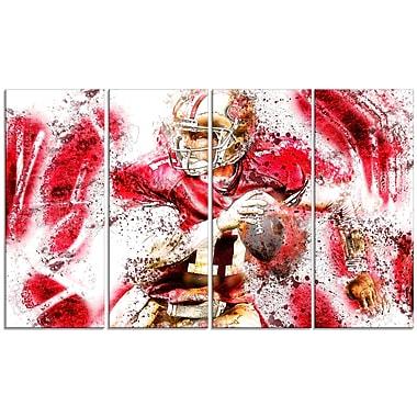 Designart – Passe en profondeur au football, illustration imprimée sur toile (PT2511-271)
