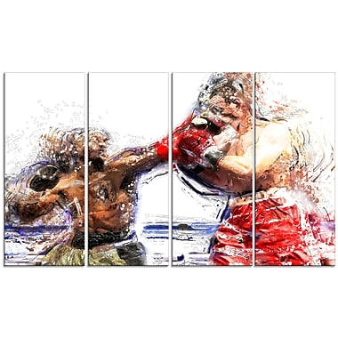 Designart Boxing Knock Out Canvas Art Print, (PT2515-271)