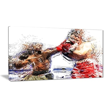 Designart Boxing Knock Out Canvas Art Print, (PT2515-32-16)