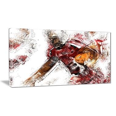 Designart – Art imprimé sur toile, la balle est en jeu au football (PT2518-32-16)