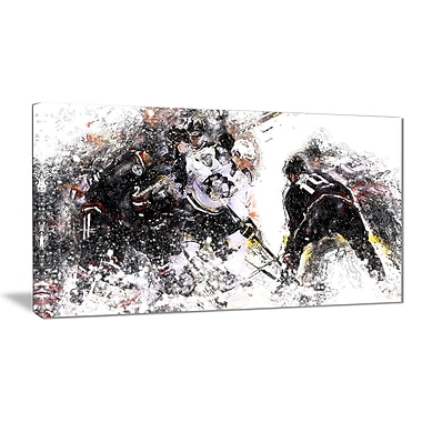 Designart Hockey Face Off Canvas Art Print, (PT2522-32-16)