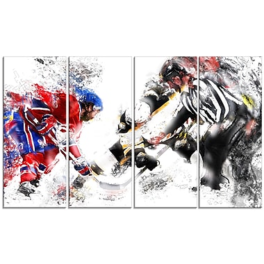 Designart Hockey Face Off Canvas Art Print, (PT2524-271)