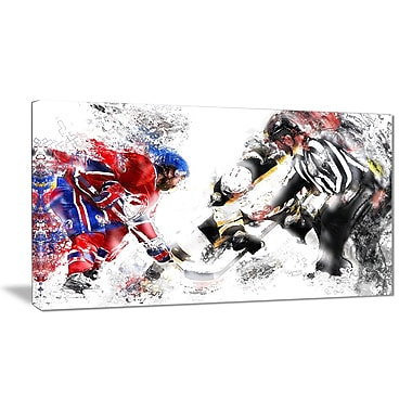 Designart Hockey Face Off Canvas Sport Art Print, (PT2524-32-16)