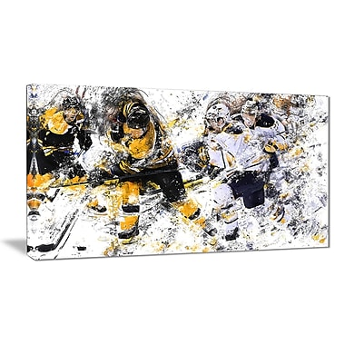 Designart Hockey Power Play Canvas Art Print, (PT2525-32-16)