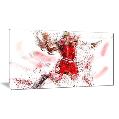 Designart Basketball Slam Dunk Canvas Art Print, (PT2526-32-16)