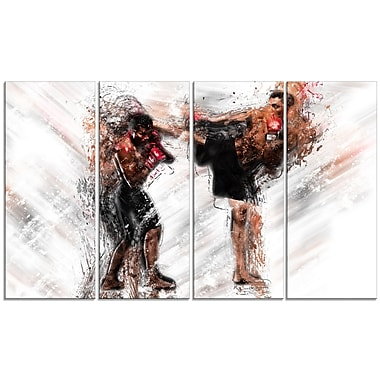 Designart Kick Boxing Side Kick Canvas Art Print, (PT2527-271)