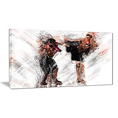 Designart Kick Boxing Side Kick Canvas Art Print, (PT2527-32-16)