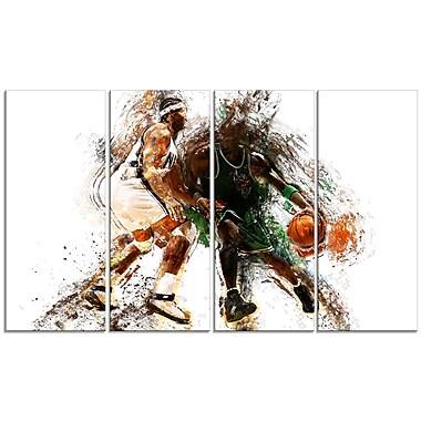 Designart – Allez la défense en basketball, imprimé sur toile (PT2530-271)