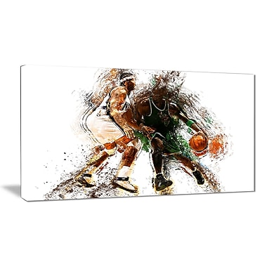 Designart Basketball Lets Go Defense Canvas Art Print, (PT2530-32-16)