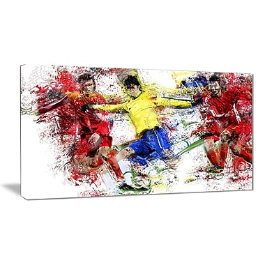 Designart Soccer Break Away Canvas Art Print, (PT2531-32-16)