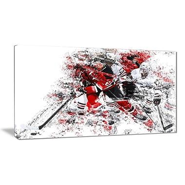 Designart – Art imprimé sur toile, échappée au hockey, (PT2532-32-16)