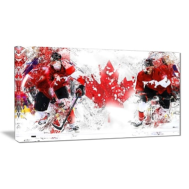 Designart Hockey In Canada Canvas Art Print, (PT2533-32-16)
