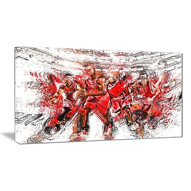 Designart Basketball Offense Line Canvas Art Print, (PT2539-32-16)