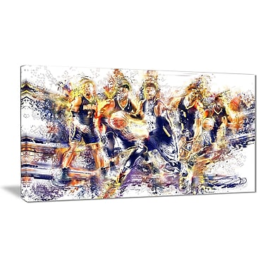 Designart Basketball Lets Go Offense Canvas Art Print, (PT2540-32-16)