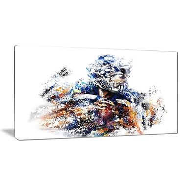 Designart – Quart arrière de football, illustration imprimée sur toile (PT2541-32-16)