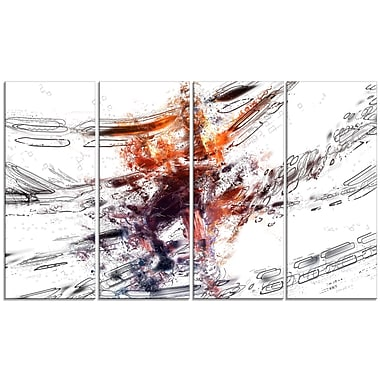 Designart Basketball Abstract 3 Pointer Canvas Art Print, (PT2542-271)