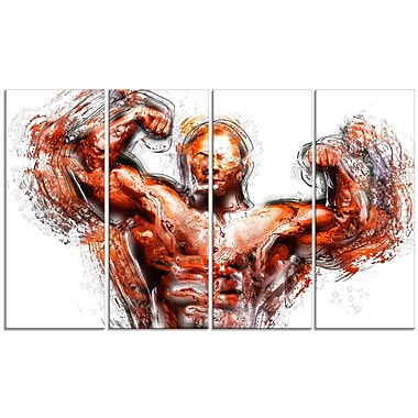 Designart Body Building Lean Out Canvas Art, (PT2543-271)