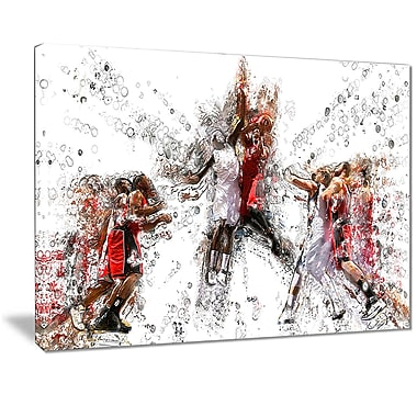 Designart Basketball Jump Shot Canvas Art Print, (PT2547-32-16)