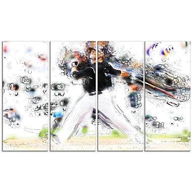 Designart Baseball Home Run Canvas Art Print, (PT2549-271)