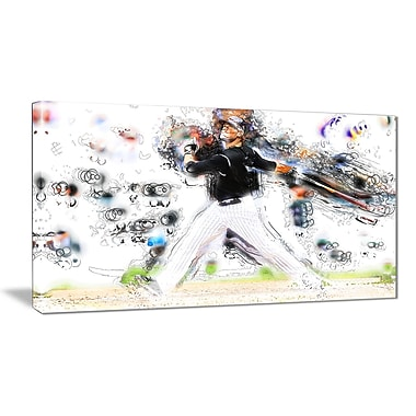 Designart Baseball Home Run Canvas Art Print, (PT2549-32-16)