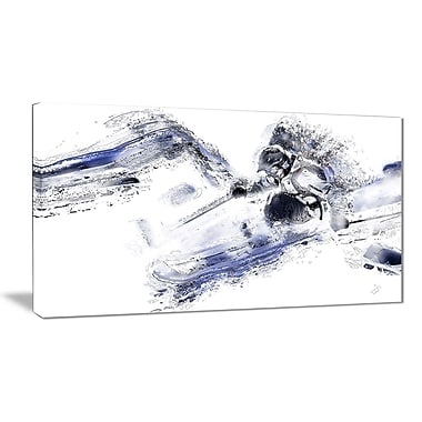 Designart Skiing Down Hill Canvas Art Print, (PT2552-32-16)