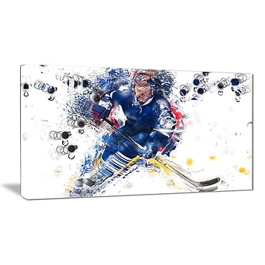 Designart Hockey Penalty Shot Canvas Art Print, (PT2553-32-16)
