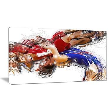 Designart Wrestling Body Slam Canvas Art Print, (PT2554-32-16)