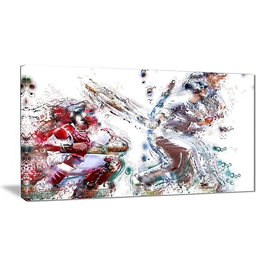 Designart Baseball Strike Canvas Art Print, (PT2560-32-16)