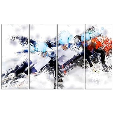 Designart Speed Skating Finish Line Canvas Art Print, (PT2561-271)