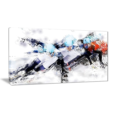 Designart Speed Skating Finish Line Canvas Art Print, (PT2561-32-16)