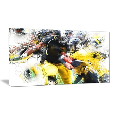 Designart Football Ball in Play Canvas Art Print, (PT2563-32-16)