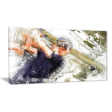 Designart – Art imprimé sur toile, frappeur au baseball (PT2564-32-16)