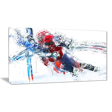 Designart Skiing Down Hill Race Canvas Art Print, (PT2565-32-16)