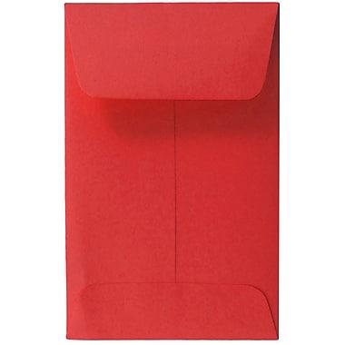 JAM PaperMD – Enveloppes à monnaie nº 1, 2,25 x 3,5 po, papier recyclé Brite Hue rouge, 1000/paquet