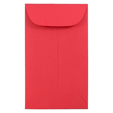 JAM PaperMD – Enveloppes à monnaie nº 3, 2,5 x 4,25 po, papier recyclé Brite Hue rouge, 100/paquet