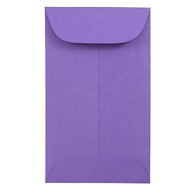 JAM Paper® #3 Coin Envelopes, 2.5 x 4.25, Brite Hue Ultra Violet Purple, 500/Pack