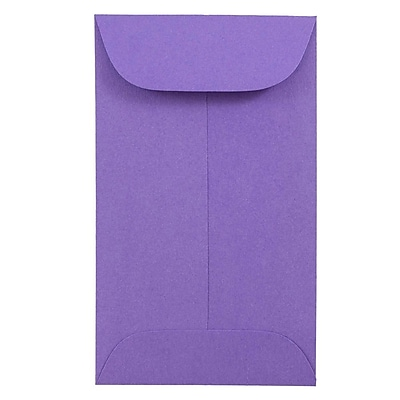 JAM Paper® #3 Coin Envelopes, 2.5 x 4.25, Brite Hue Ultra Violet Purple, 500/box (356730540H)