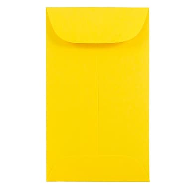 JAM Paper® #5.5 Coin Envelopes, 3 1/8 x 5 1/2, Brite Hue Yellow Recycled, 100/Pack