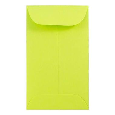 JAM PaperMD – Enveloppes à monnaie nº 3, 2,5 x 4,25 po, vert lime Brite Hue, 100/paquet