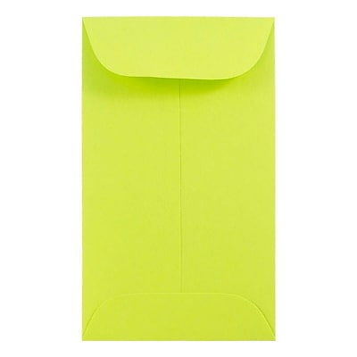 JAM Paper® #3 Coin Envelopes, 2.5 x 4.25, Brite Hue Ultra Lime Green, 25/pack (356730536)