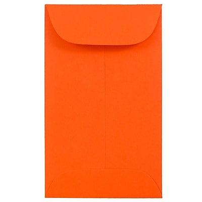 JAM Paper® #3 Coin Envelopes, 2.5 x 4.25, Brite Hue Orange Recycled, 1000/carton (356730538C)