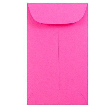 JAM PaperMD – Enveloppes à monnaie no 3, 2,5 x 4,25 po, rose fuchsia intense Brite Hue, 500/paquet