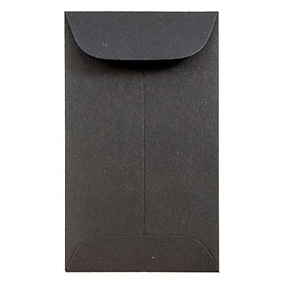 JAM Paper® #3 Coin Envelopes, 2.5 x 4.25, Black, 1000/carton (356730544C)