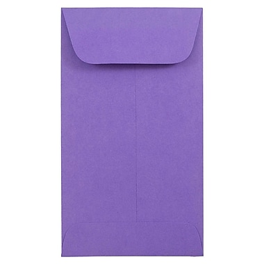 JAM Paper® #5.5 Coin Envelopes, 3 1/8 x 5 1/2, Brite Hue Ultra Violet Purple, 100/pack (356730550B)