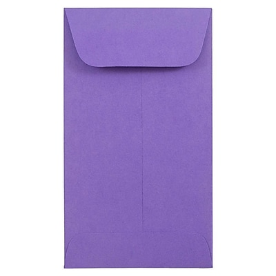 JAM Paper® #6 Coin Envelopes, 3 3/8 x 6, Brite Hue Ultra Violet Purple, 100/pack (356730560B)