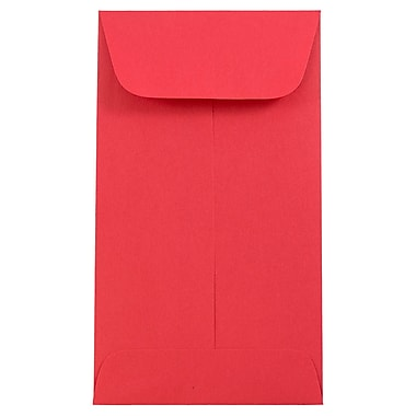 JAM Paper® #6 Coin Envelopes, 3 3/8 x 6, Brite Hue Red Recycled, 1000/carton (356730561C)