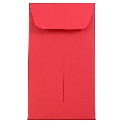 JAM Paper® #6 Coin Envelopes, 3 3/8 x 6, Brite Hue Red Recycled, 25/pack (356730561)